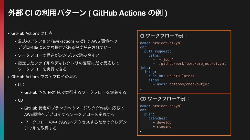 • GitHub Actions ͷར • ެࣜͷΞΫγϣϯ (aws-actions ͳͲ...