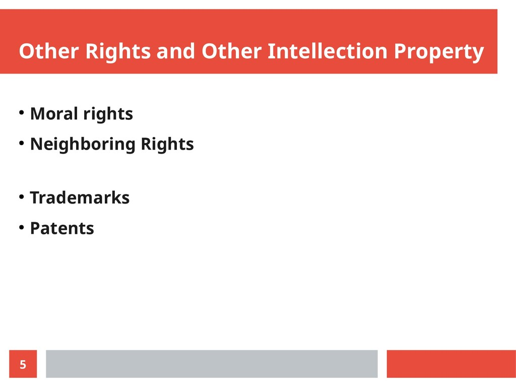 5 Other Rights and Other Intellection Property ...