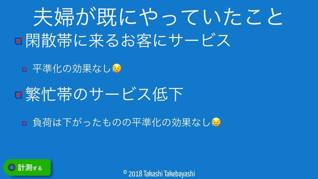 © 2018 Takashi Takebayashi ؓଳʹདྷΔ͓٬ʹαʔϏε ฏ४ԽͷޮՌ...