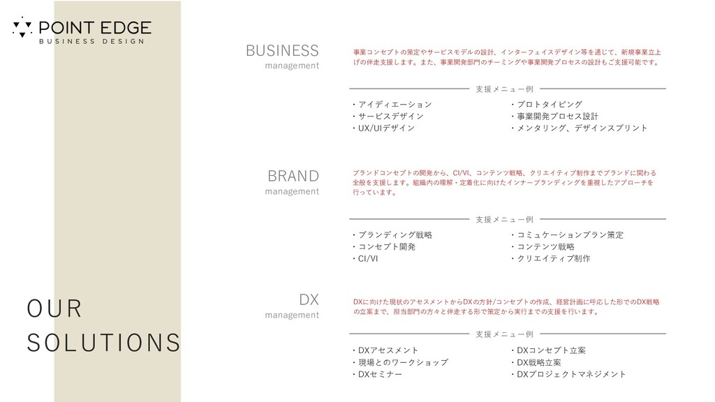 OUR SOLUTIONS BUSINESS management 事業コンセプトの策定やサー...