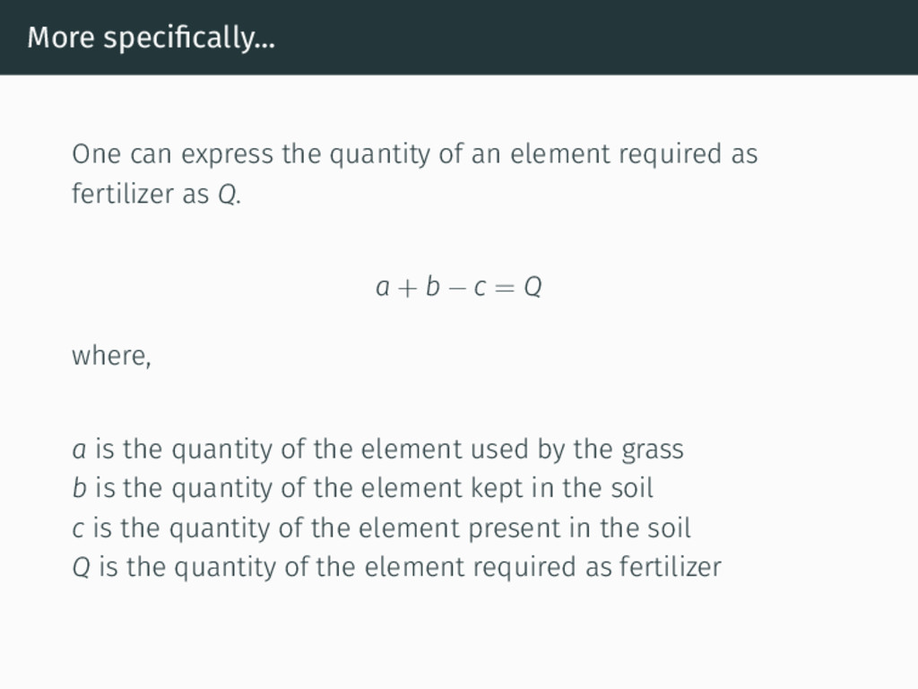 More specifically... One can express the quantit...
