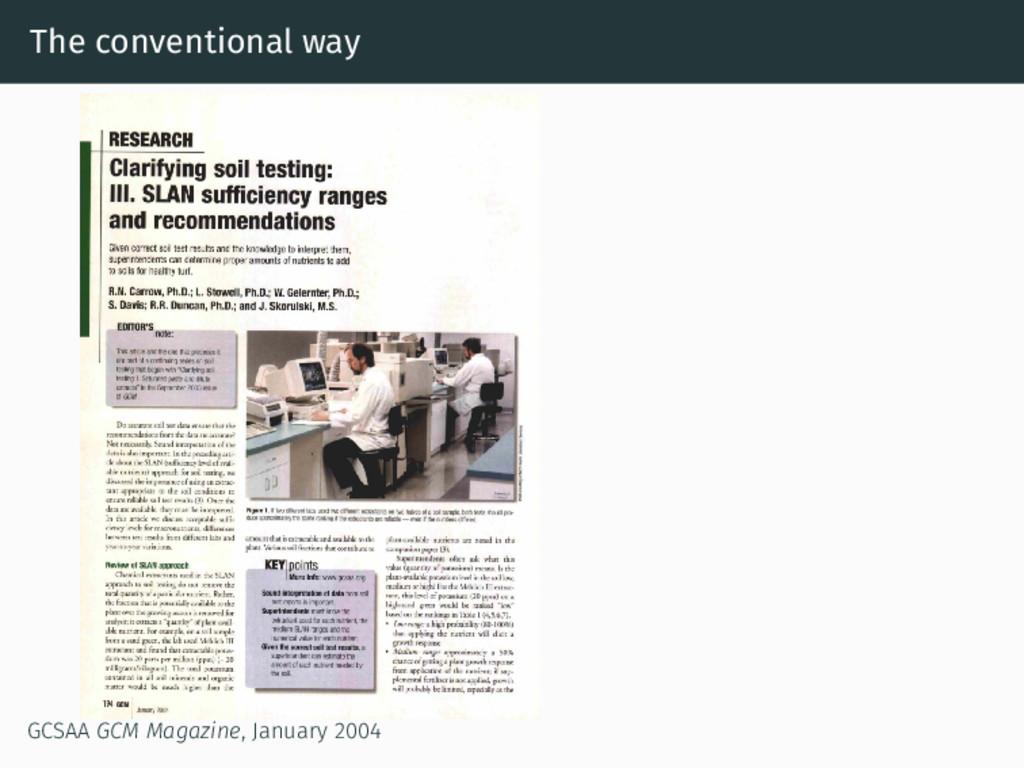The conventional way GCSAA GCM Magazine, Januar...