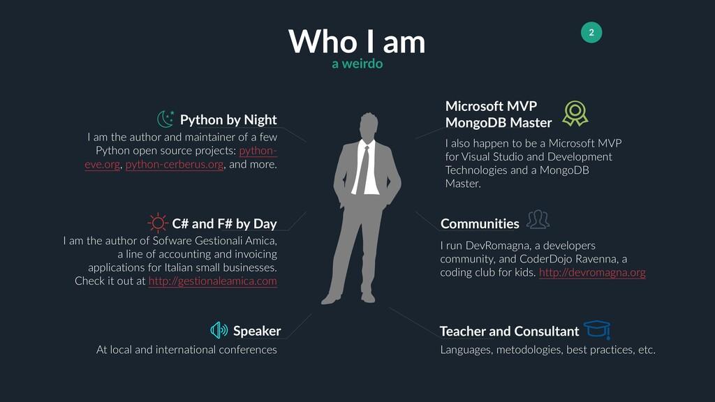 Teacher and Consultant 2 Who I am a weirdo Pyth...