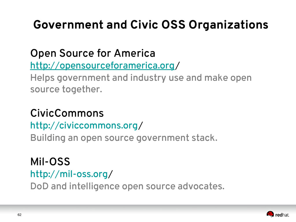 6 2 62 Government and Civic OSS Organizations O...