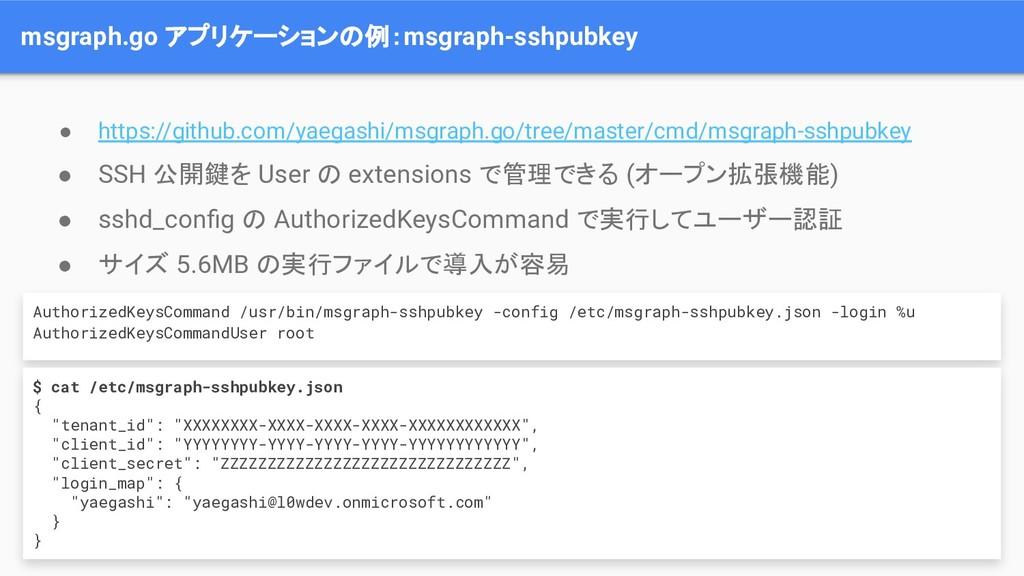 msgraph.go アプリケーションの例:msgraph-sshpubkey ● https...