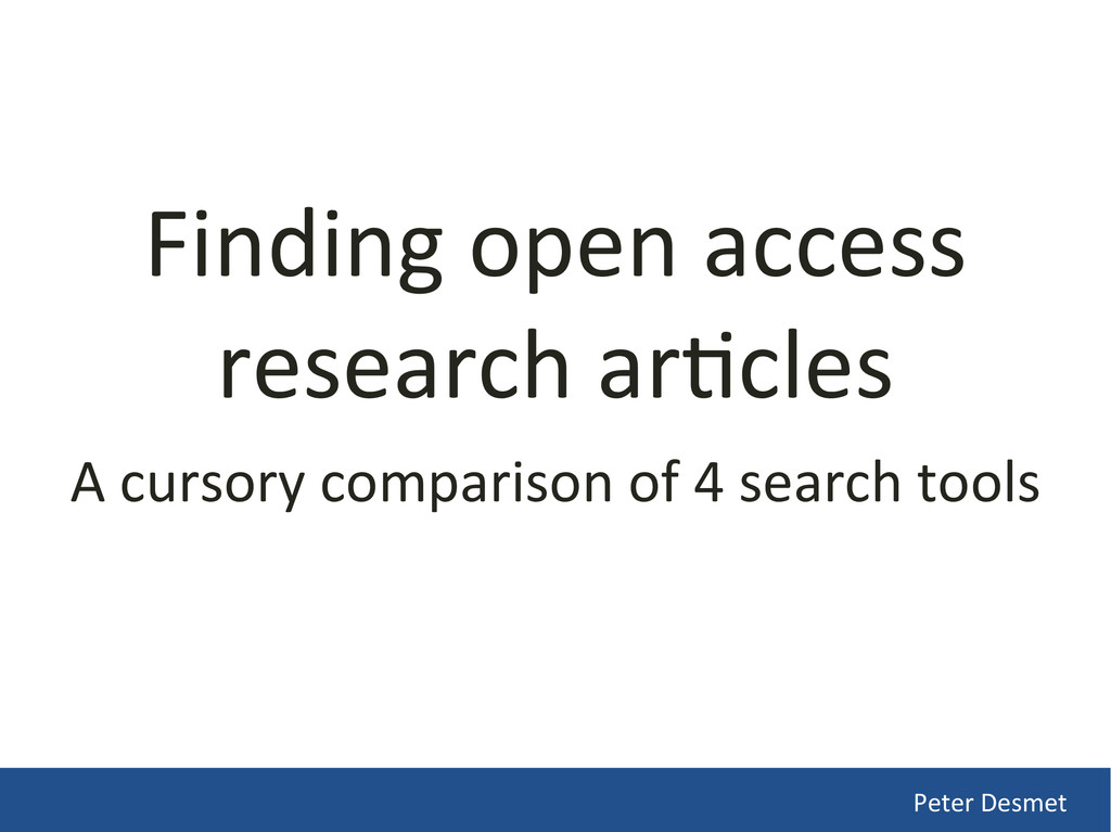 Finding open access  research ar/cl...