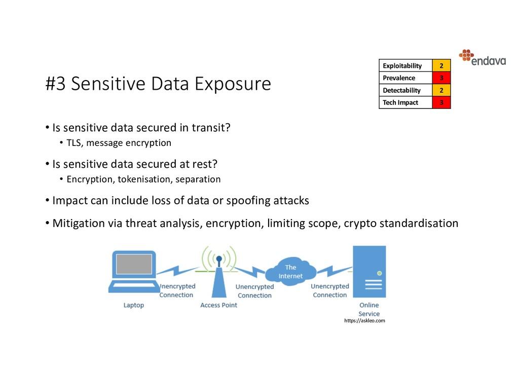 #3 Sensitive Data Exposure • Is sensitive data ...