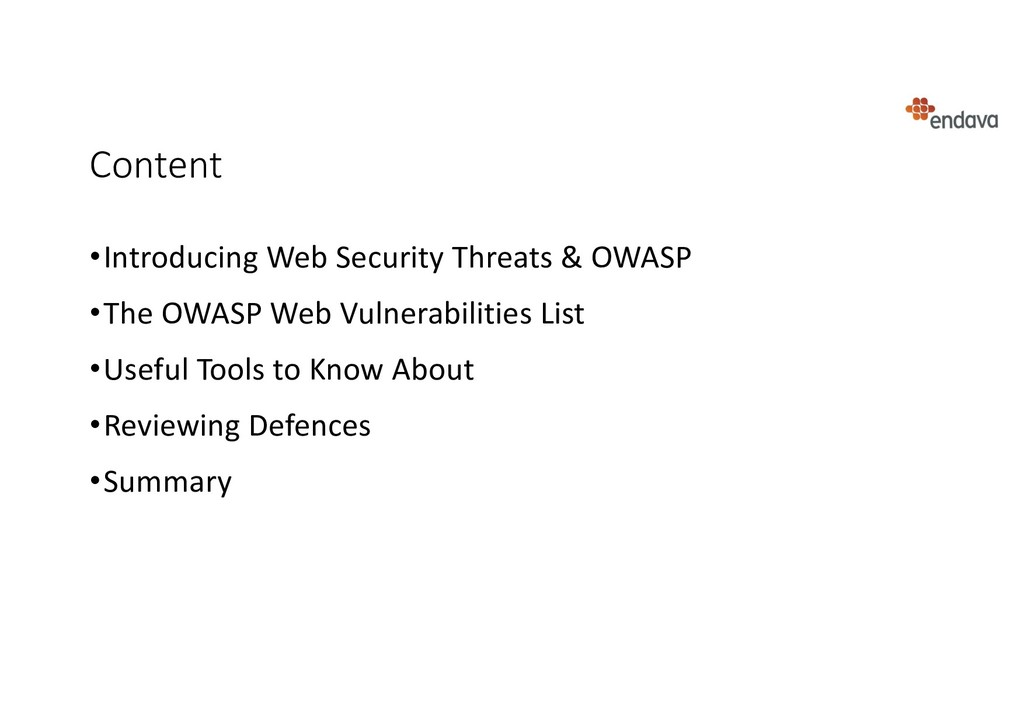 Content •Introducing Web Security Threats & OWA...