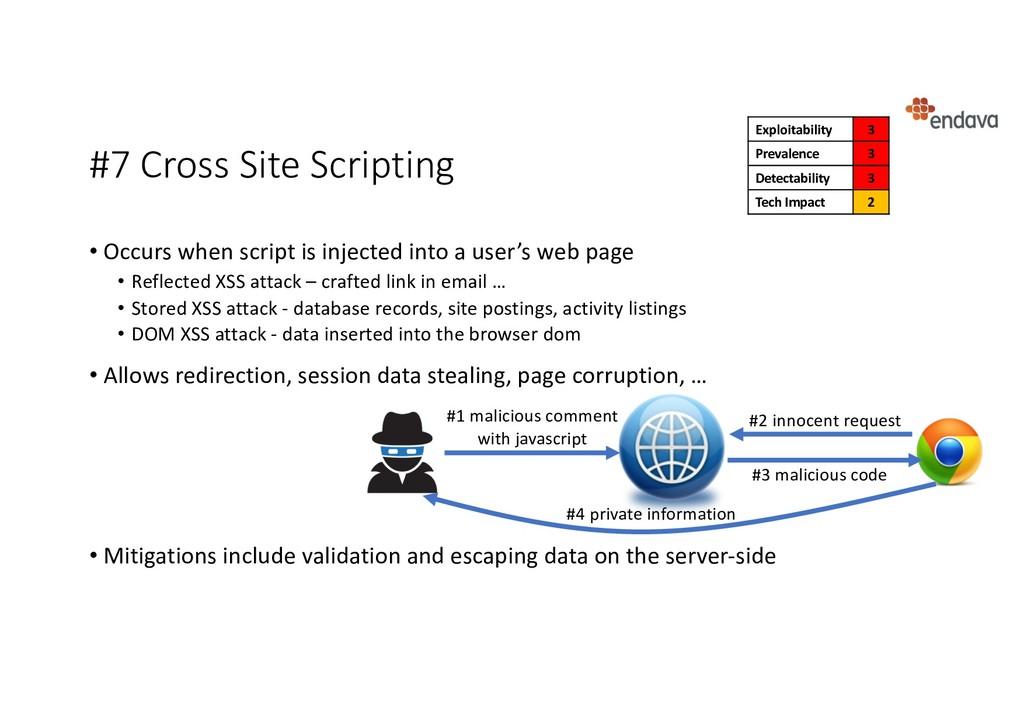 #7 Cross Site Scripting • Occurs when script is...