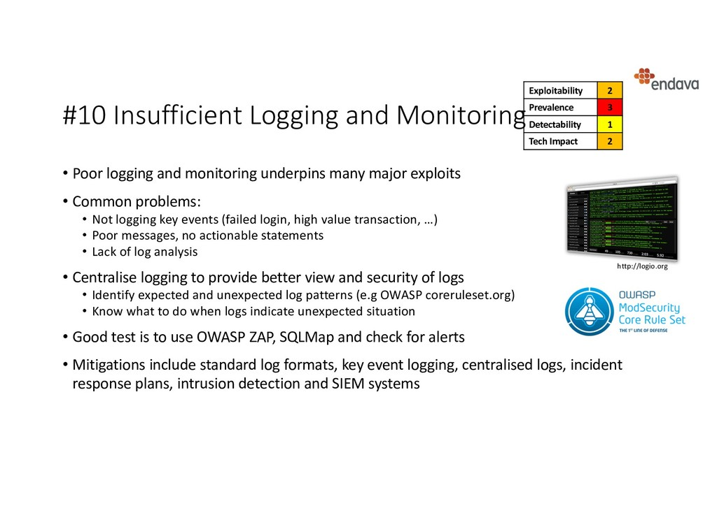 #10 Insufficient Logging and Monitoring • Poor ...