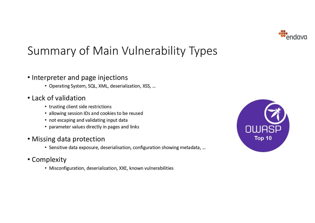 Summary of Main Vulnerability Types • Interpret...