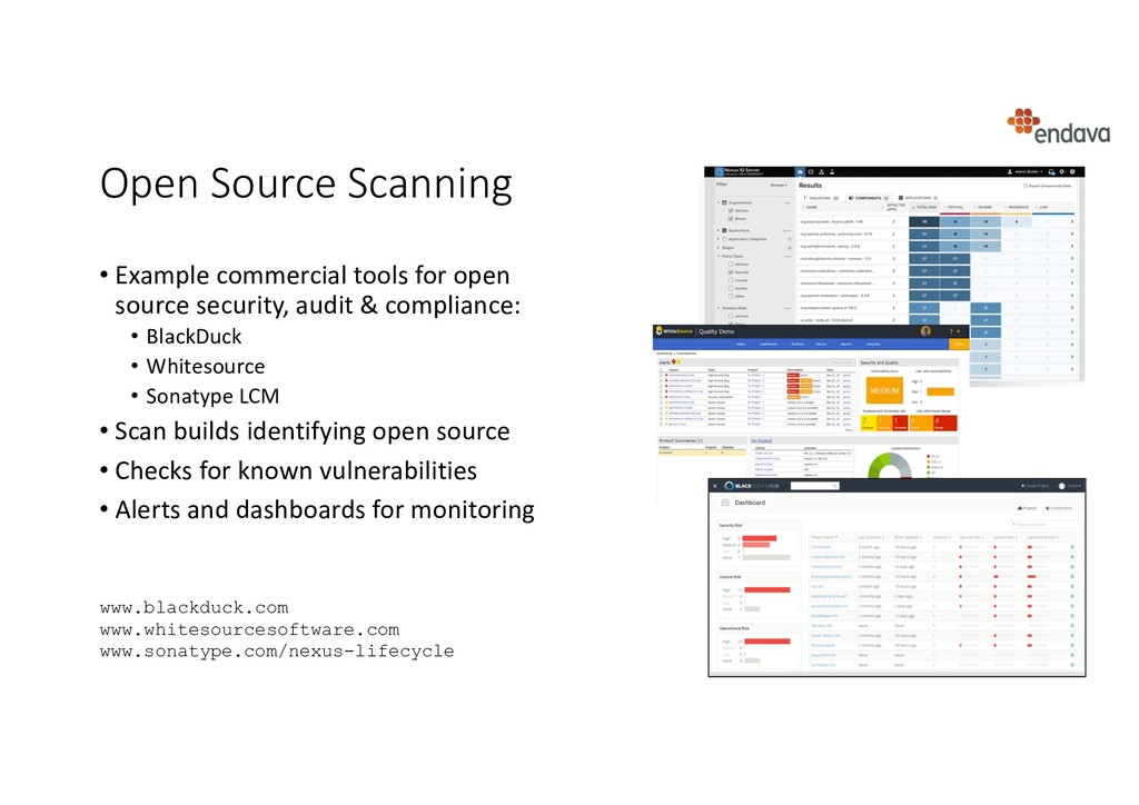 Open Source Scanning • Example commercial tools...