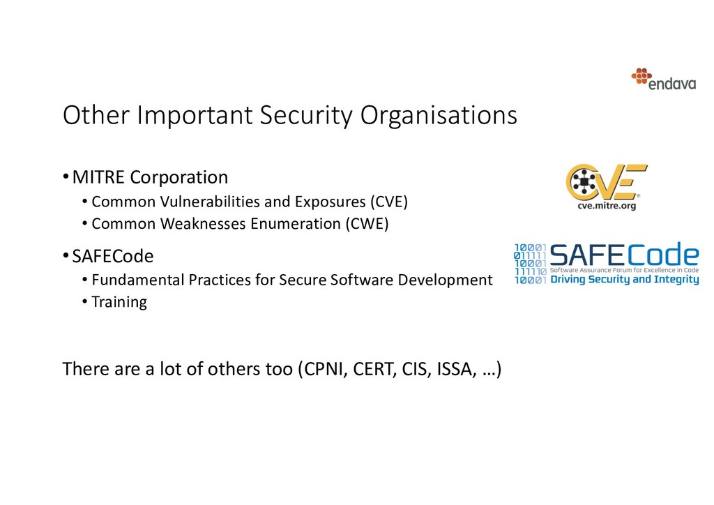 Other Important Security Organisations •MITRE C...