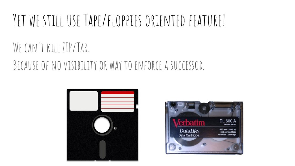 Yet we still use Tape/floppies oriented feature!...