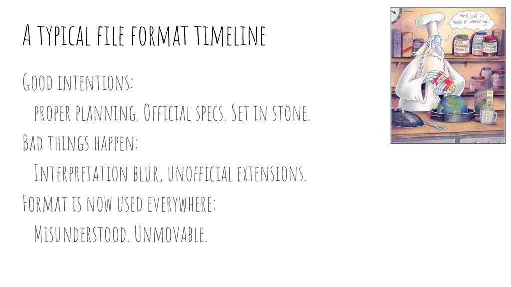 A typical file format timeline Good intentions: ...