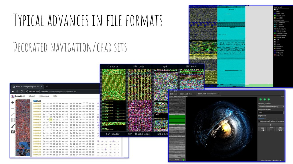 Typical advances in file formats Decorated navig...