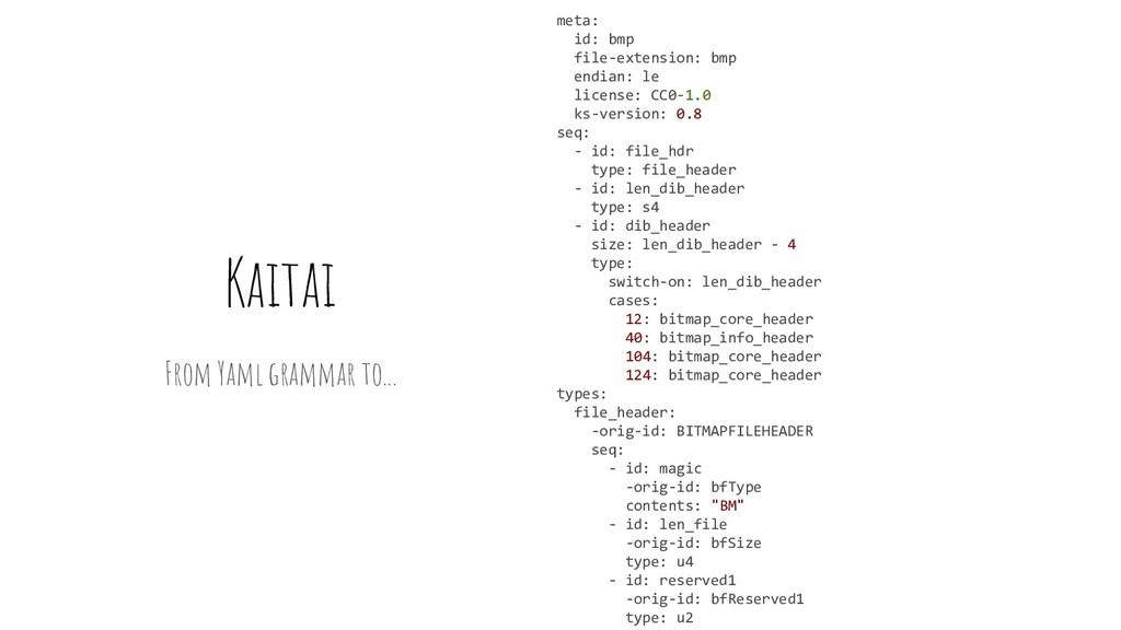 Kaitai From Yaml grammar to... meta: id: bmp fi...