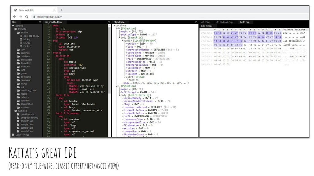 Kaitai's great IDE (read-only file-wise, classic...