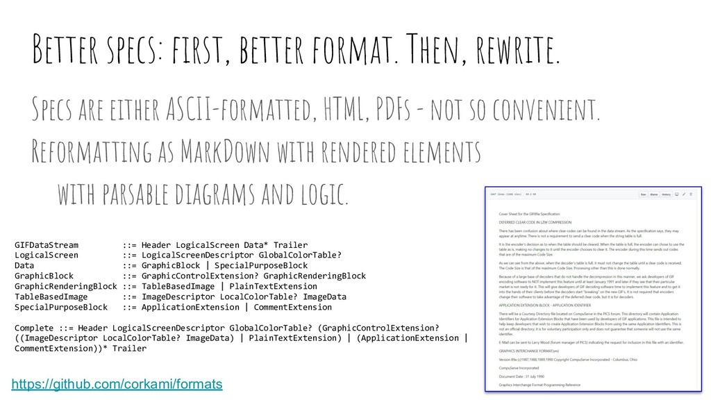 Better specs: first, better format. Then, rewrit...