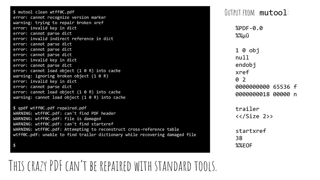This crazy PDF can't be repaired with standard ...