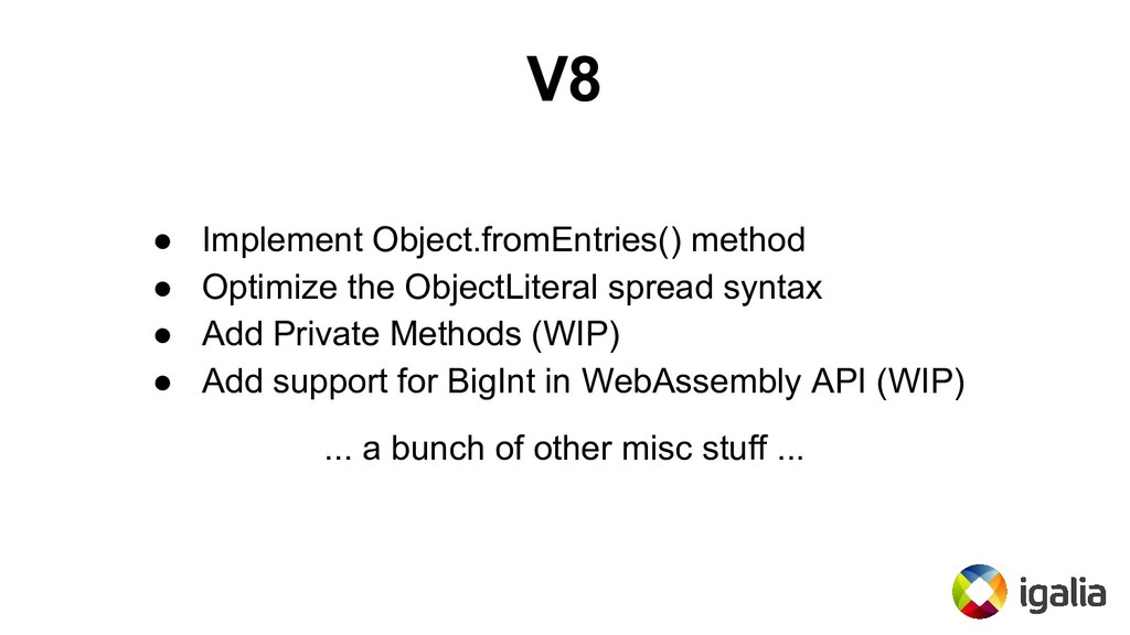 V8 ● Implement Object.fromEntries() method ● Op...