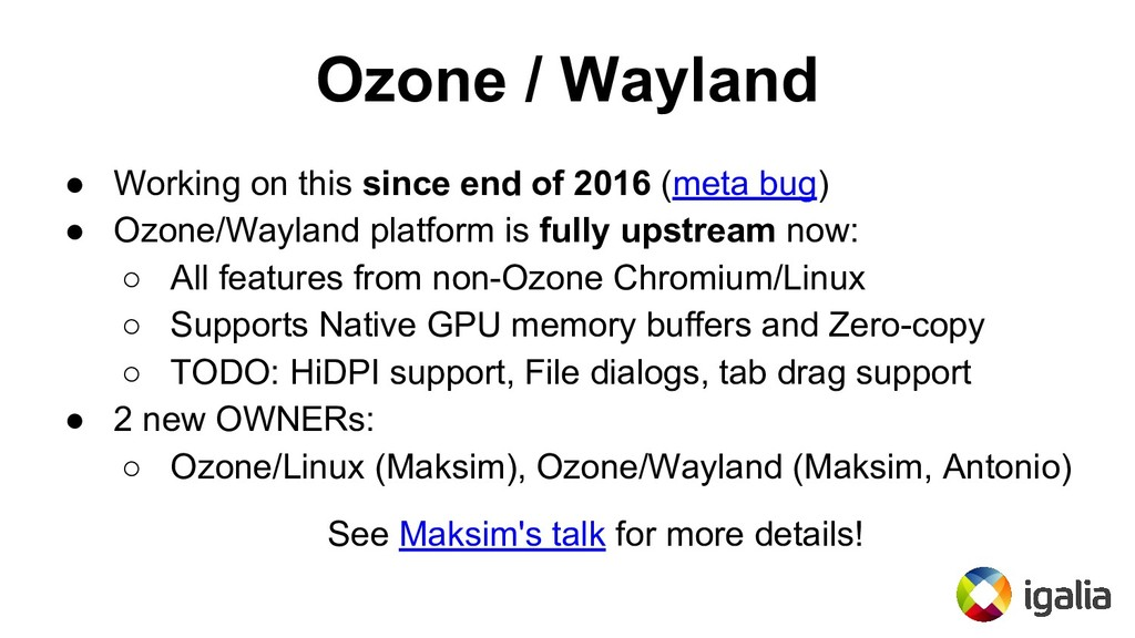 Ozone / Wayland ● Working on this since end of ...