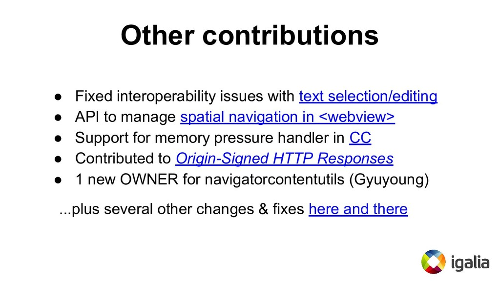 Other contributions ● Fixed interoperability is...