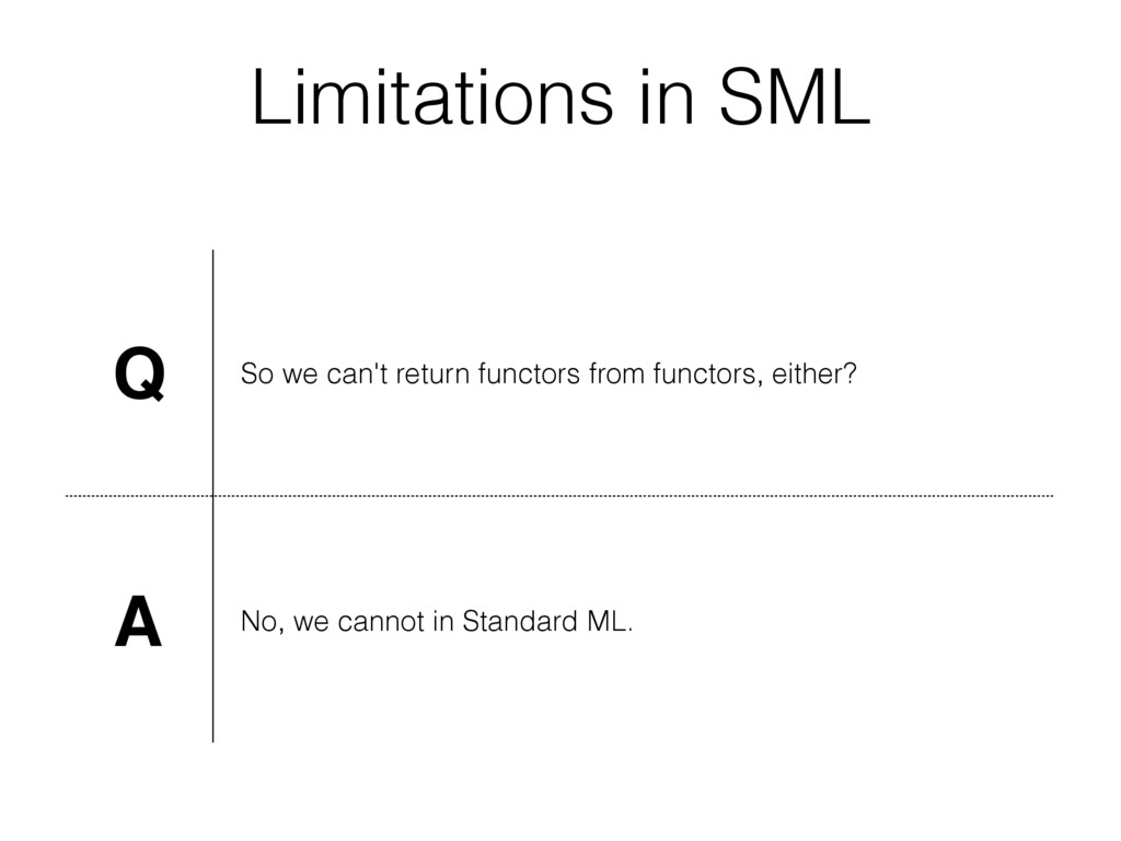 Limitations in SML Q So we can't return functor...
