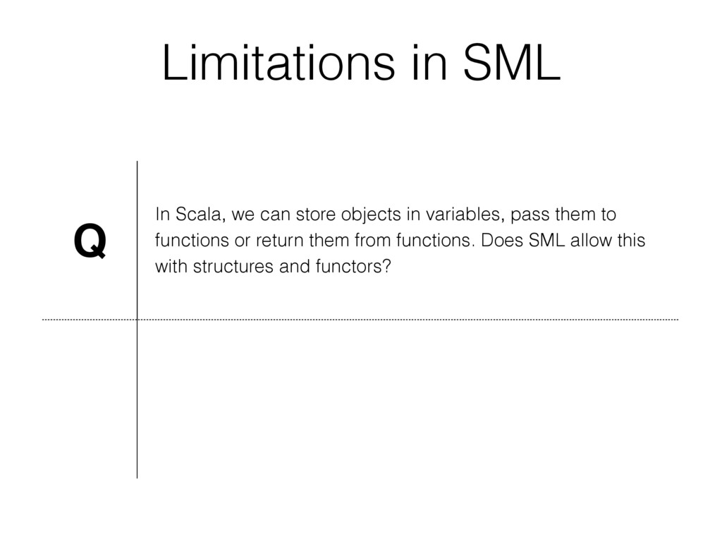 Limitations in SML Q In Scala, we can store obj...