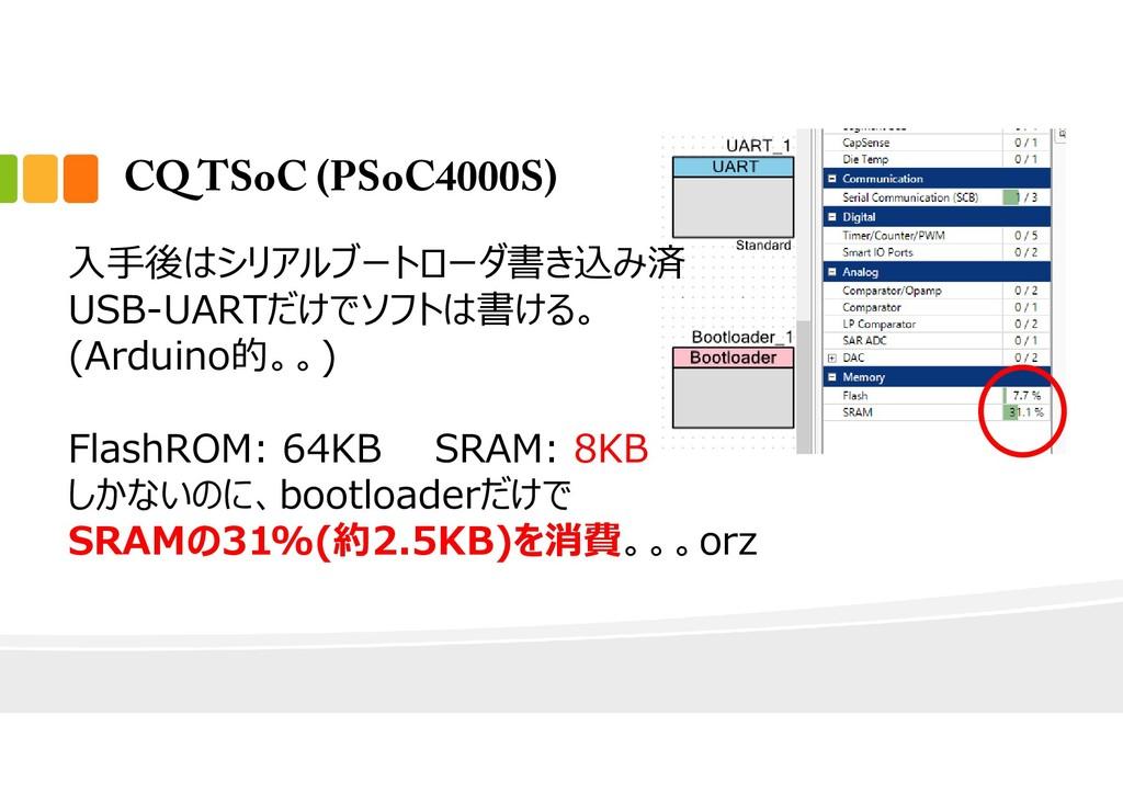 CQ TSoC (PSoC4000S) ⼊⼿後はシリアルブートローダ書き込み済 USB-UAR...