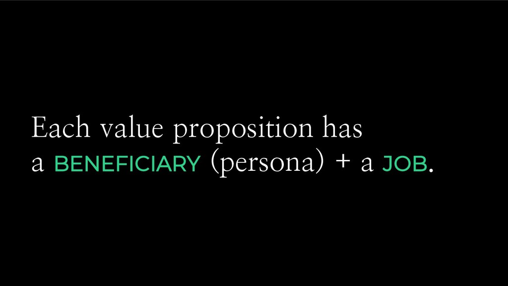 Each value proposition has a BENEFICIARY (perso...