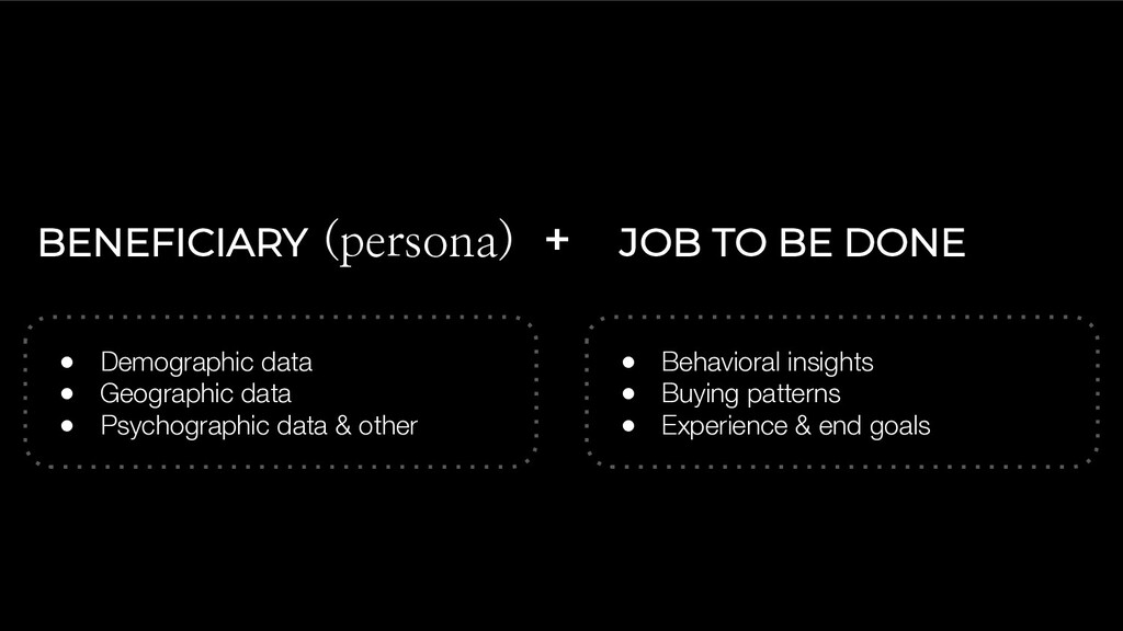 BENEFICIARY (persona) + JOB TO BE DONE ● Demogr...