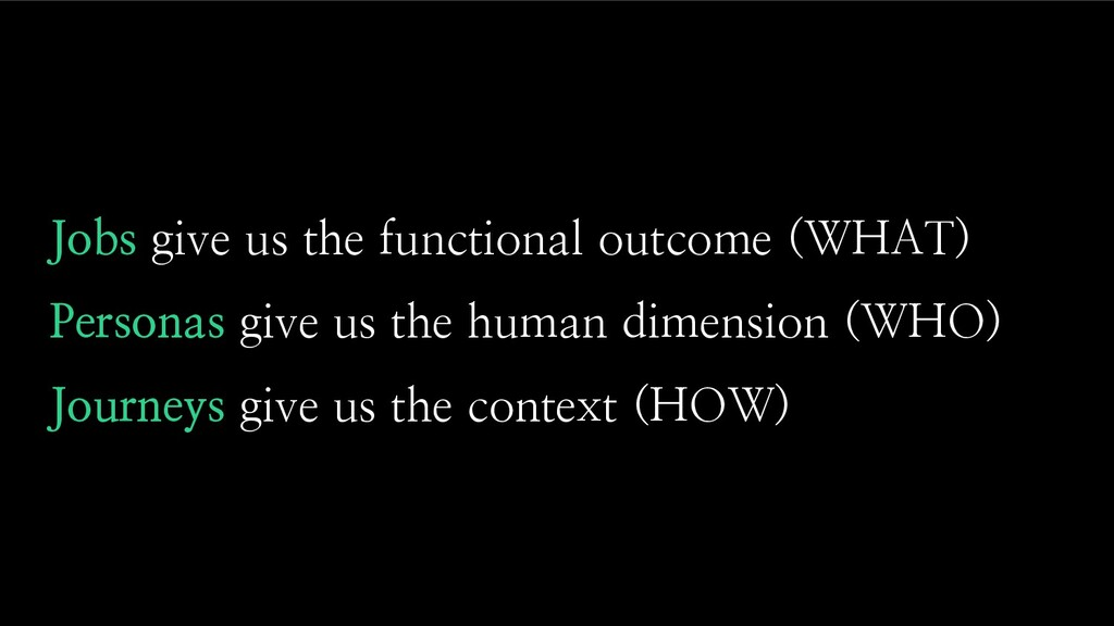 Jobs give us the functional outcome (WHAT) Pers...