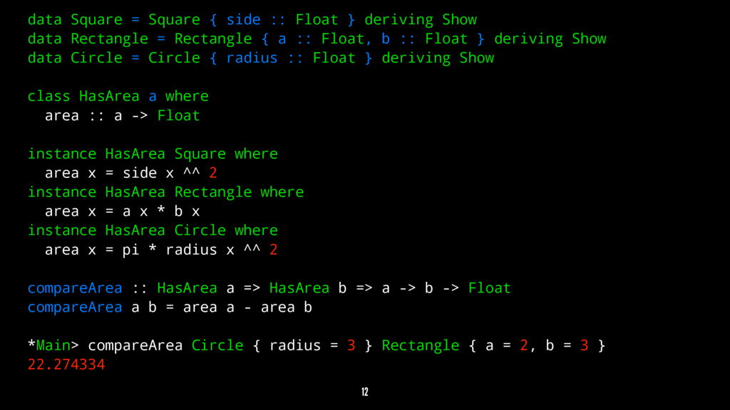 data Square = Square { side :: Float } deriving...