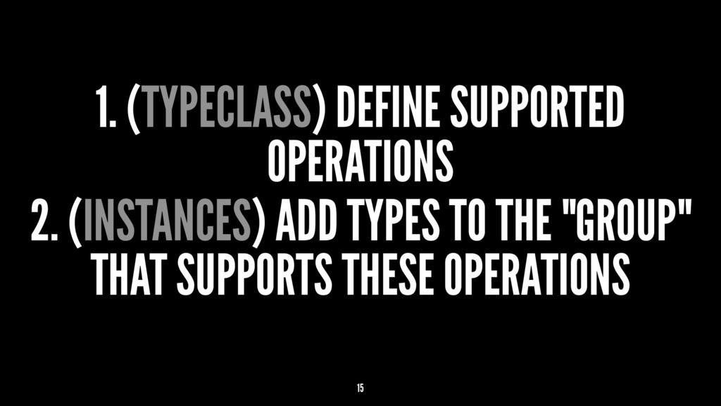 1. (TYPECLASS) DEFINE SUPPORTED OPERATIONS 2. (...