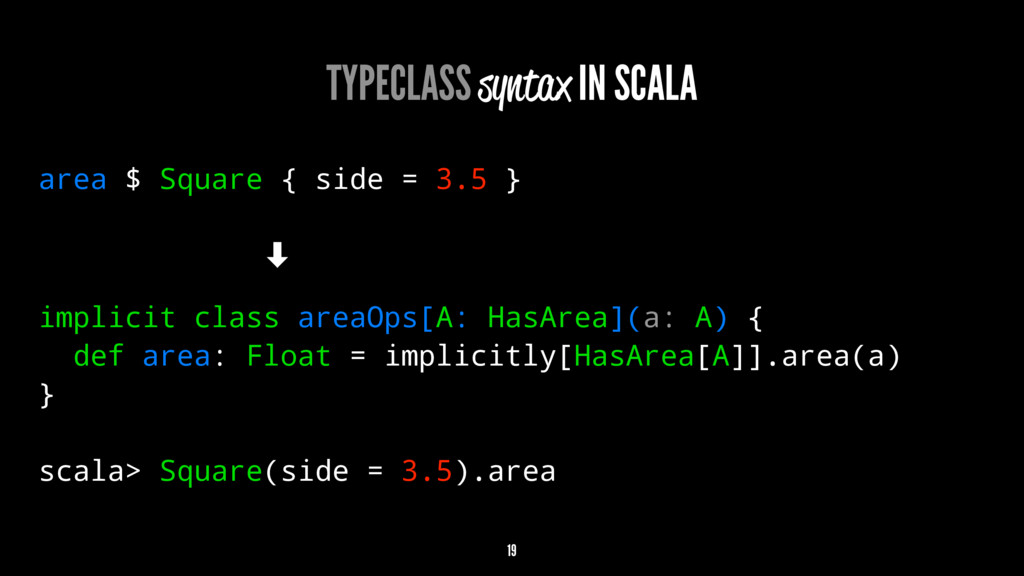 TYPECLASS syntax IN SCALA area $ Square { side ...