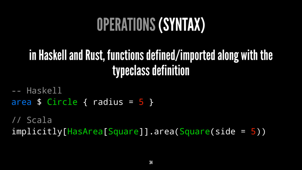 OPERATIONS (SYNTAX) in Haskell and Rust, functi...