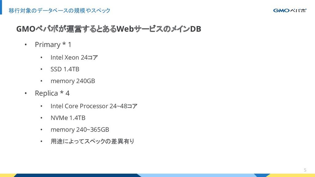 5 移行対象のデータベースの規模やスペック • Primary * 1 • Intel Xeo...
