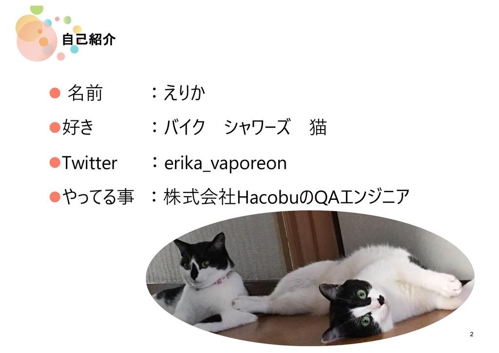自己紹介 2 l 名前 :えりか l好き :バイク シャワーズ 猫 lTwitter :eri...