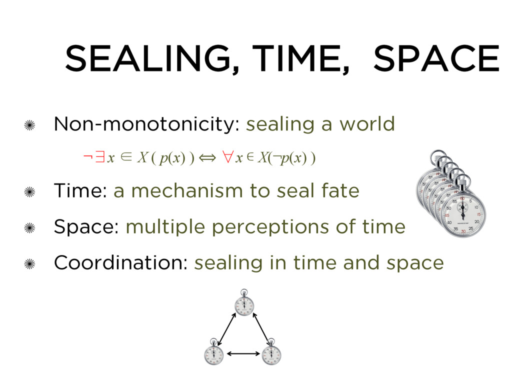 ✺ Non-monotonicity: sealing a world ¬∃x ∈ X ( p...