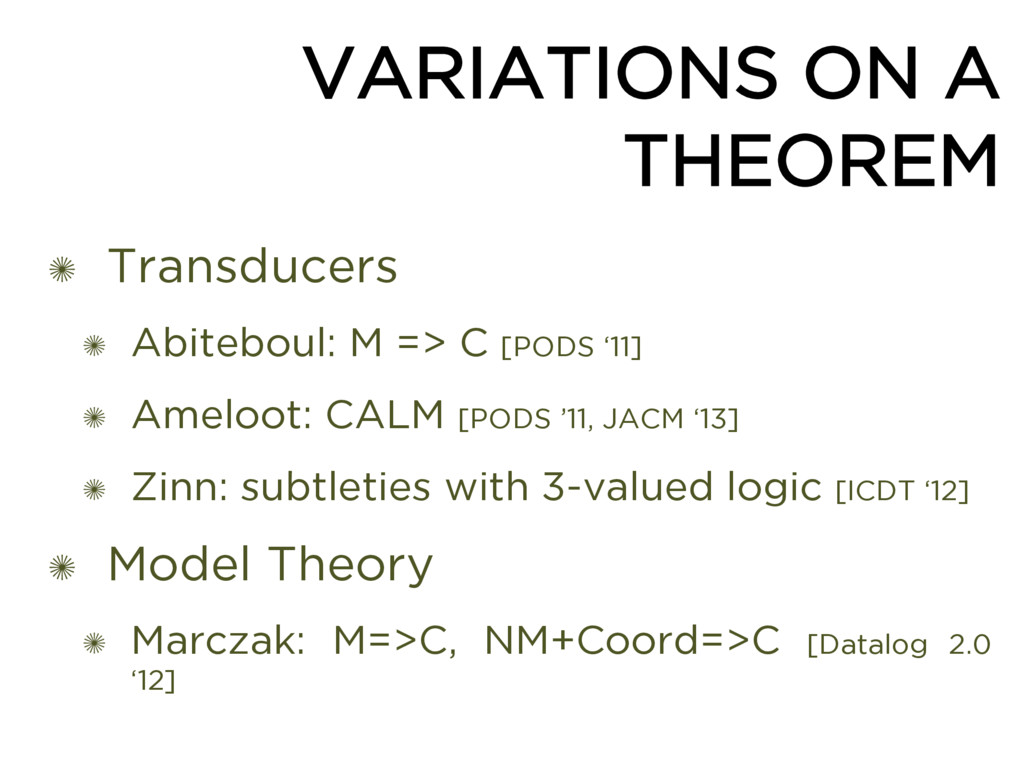 VARIATIONS ON A THEOREM ✺ Transducers ✺ Abitebo...