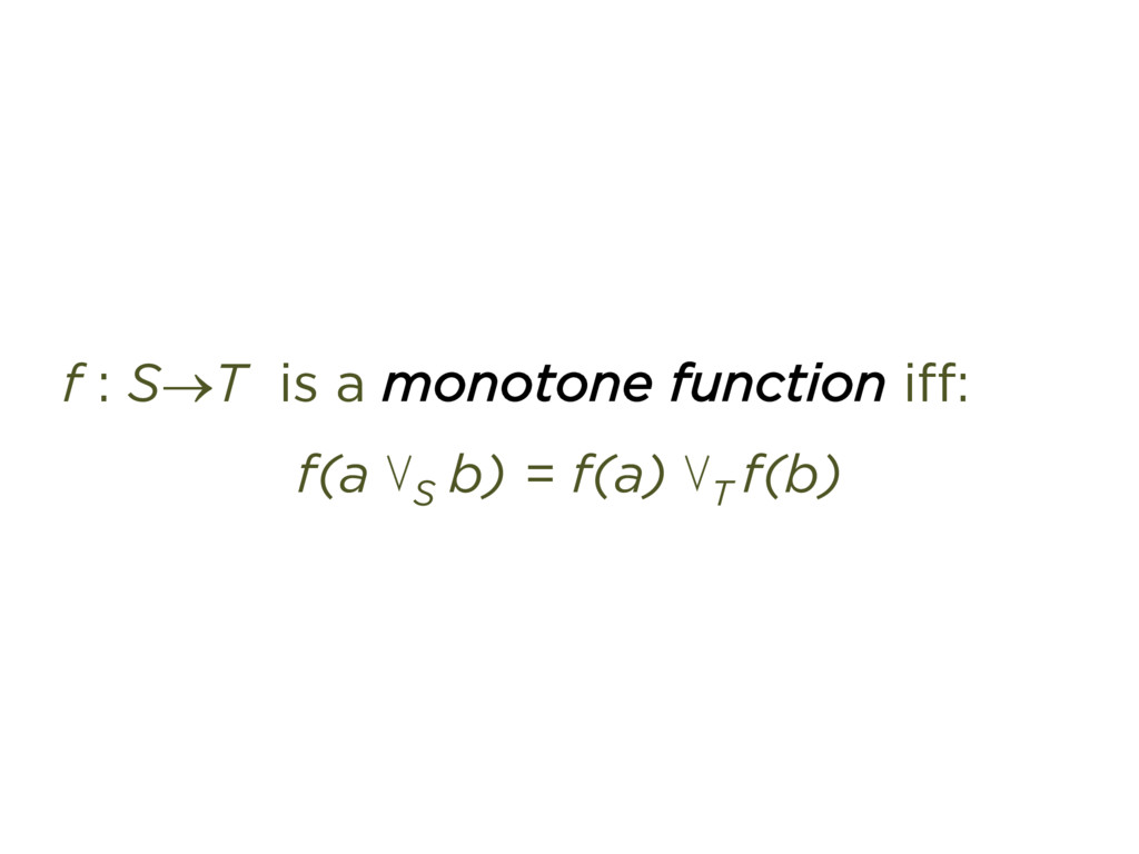 f : S®T is a monotone function iff: f(a ⋁S b) =...