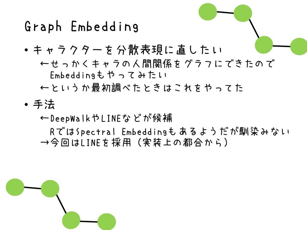 Graph Embedding • キャラクターを分散表現に直したい ←せっかくキャラの人間関...