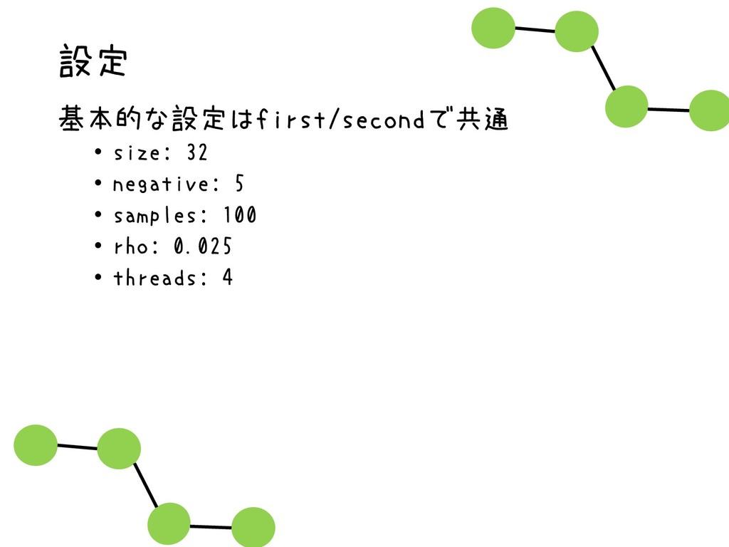 設定 基本的な設定はfirst/secondで共通 • size: 32 • negative...