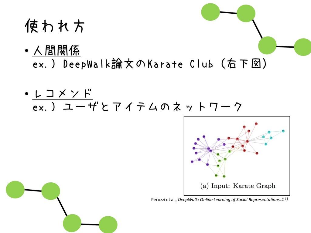 使われ方 • 人間関係 ex.) DeepWalk論文のKarate Club(右下図) • ...