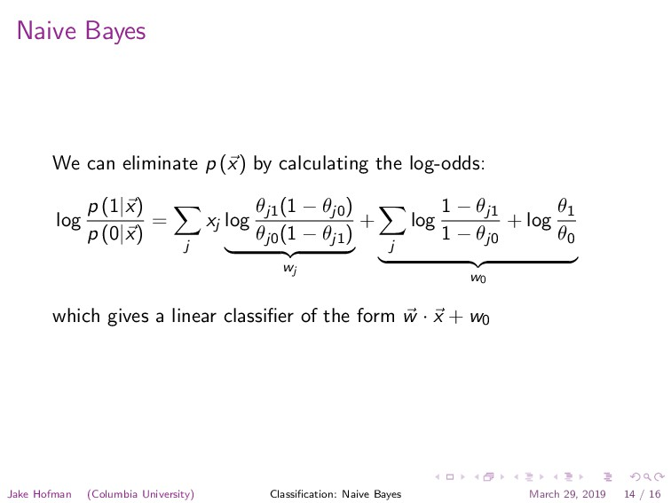 Naive Bayes We can eliminate p (x) by calculati...
