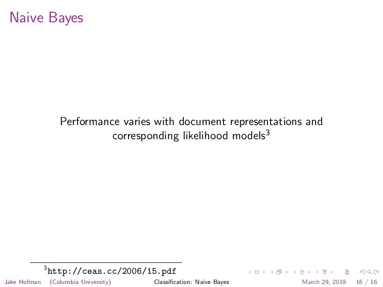 Naive Bayes Performance varies with document re...