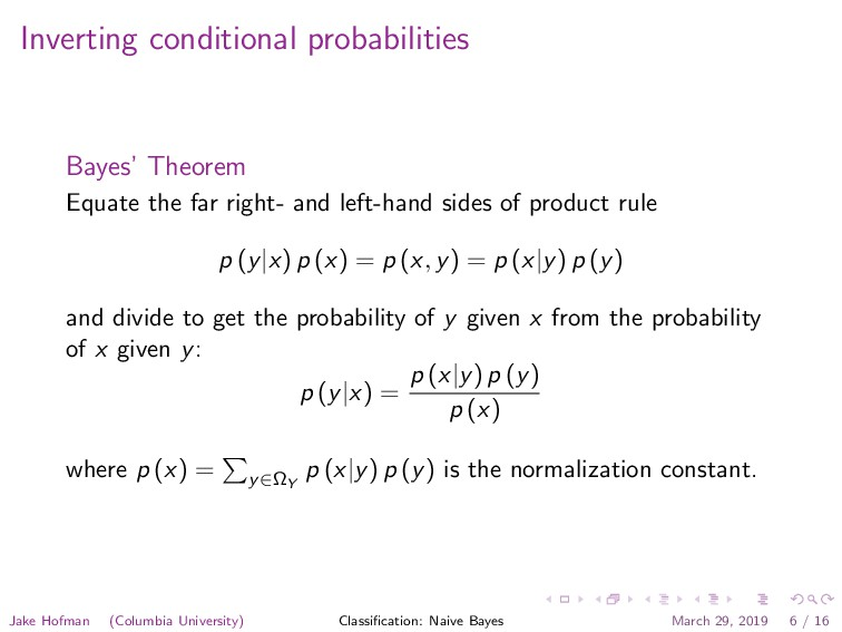 Inverting conditional probabilities Bayes' Theo...