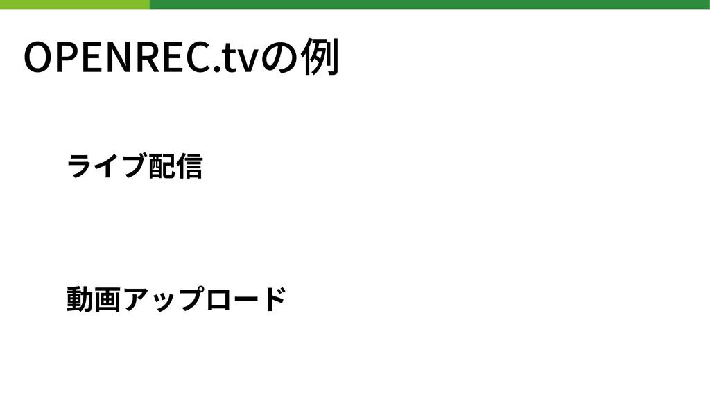 OPENREC.tvの例 ライブ配信 動画アップロード