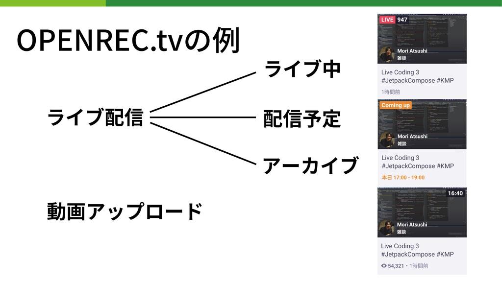 OPENREC.tvの例 ライブ配信 動画アップロード ライブ中 配信予定 アーカイブ